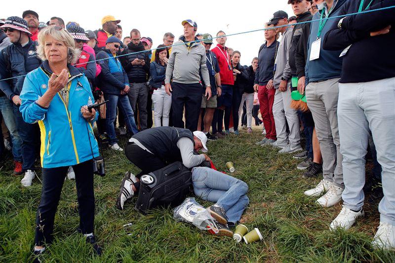На турнире во Франции гольфист разбил лицо зрительнице