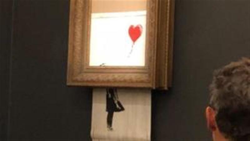 Картина Бэнкси за £1 млн самоуничтожилась прямо после продажи на аукционе