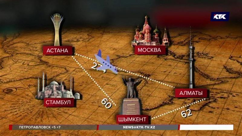 Казахстанцы чаще всего летают одними и теми же маршрутами