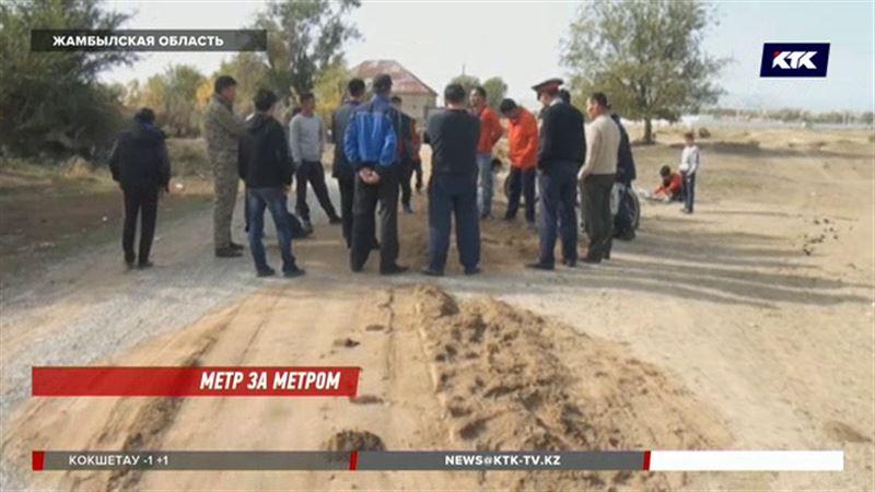 В Жамбылской области дорогу измеряют акимами