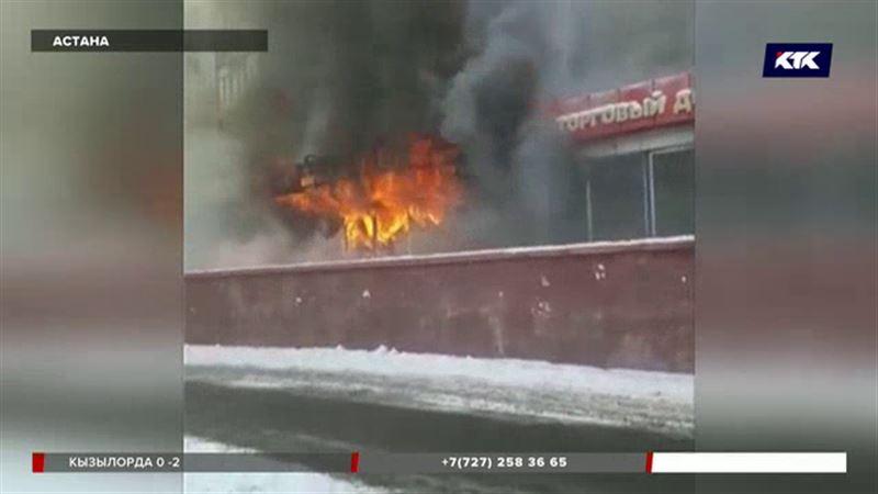 Пожар в Астане: дым от горящего ТЦ окутал едва ли не весь квартал