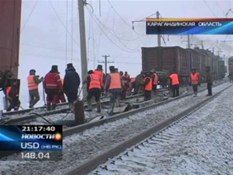 На месте крушения вагонов в Карагандинской области весь день велись ремонтные работы