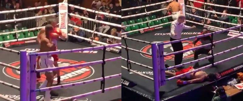 Боксшы қарсыласын бір соққымен құлатты