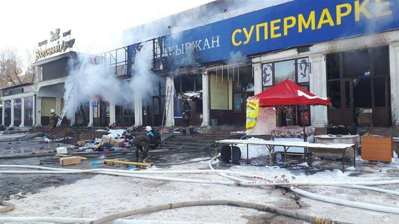 На рынке «Самал» в Алматы произошел пожар