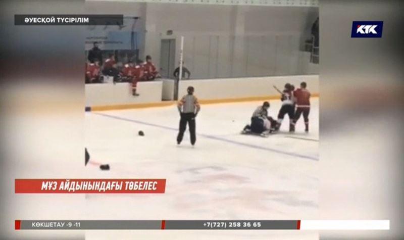 Ақтөбеде хоккейшілер мұз айдынында төбелесті