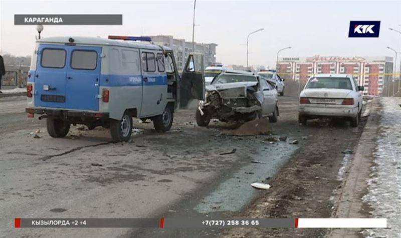 После столкновения с патрульной машиной погиб карагандинец