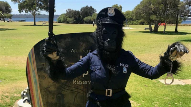 Женщина в костюме гориллы-полицейского помогла задержать преступника