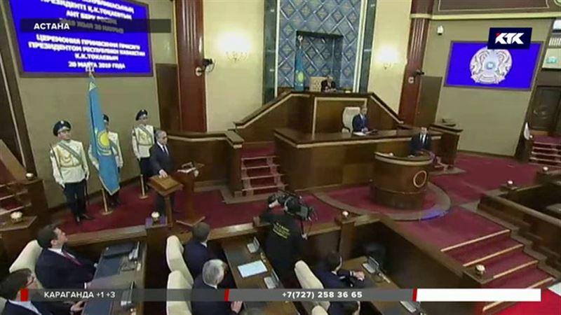 Первую речь в статусе президента Токаев начал со слов благодарности Назарбаеву
