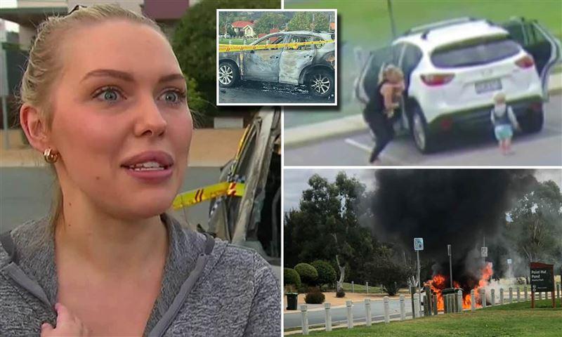 Женщина в последний момент спасла детей из горящей машины