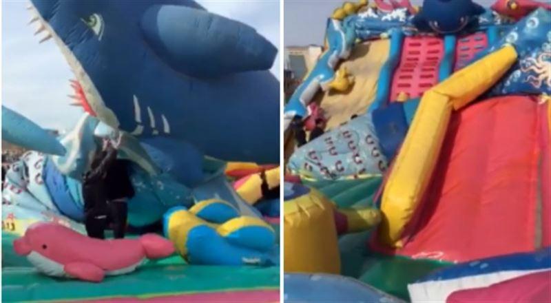 Детей успели спасти из падающего батута в Актау