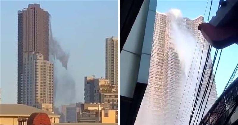 На Филиппинах c крыши небоскреба на людей обрушились тонны воды