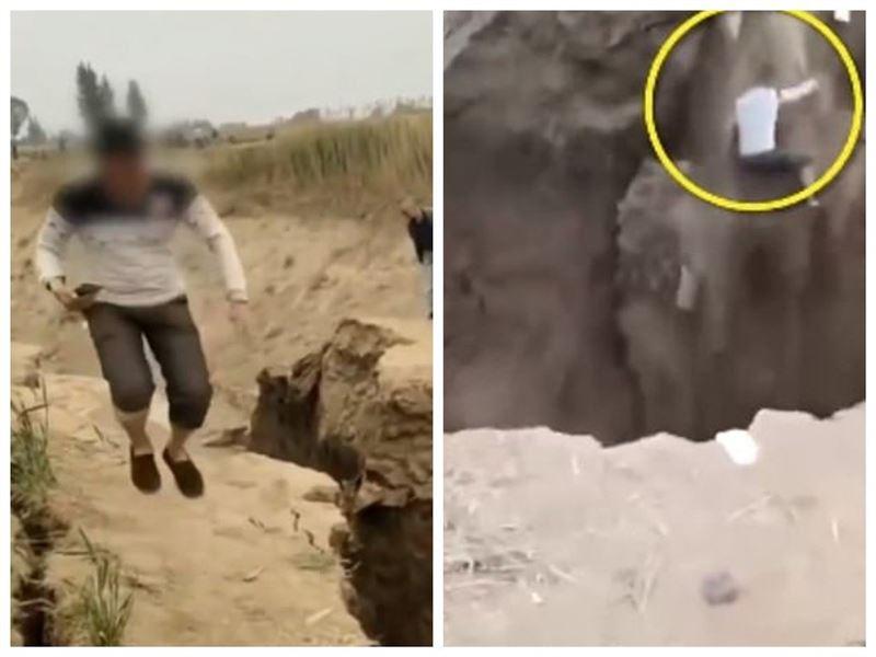 Турист упал с обрыва в бурный грязевой поток, проверяя холм на прочность