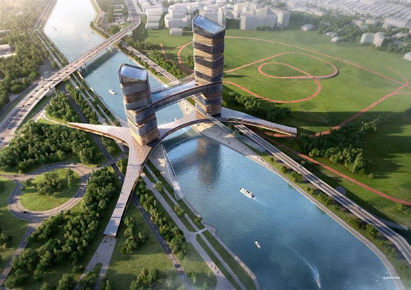Мост с двумя башнями в 42 этажа возведут в Нур-Султане