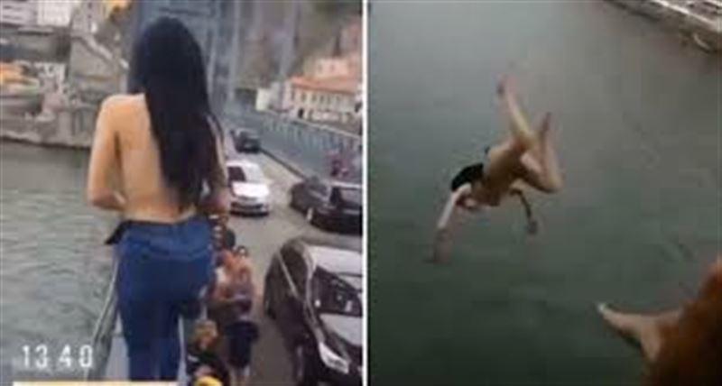 В португальском Порту обнаженная девушка прыгнула с 45-метрового моста