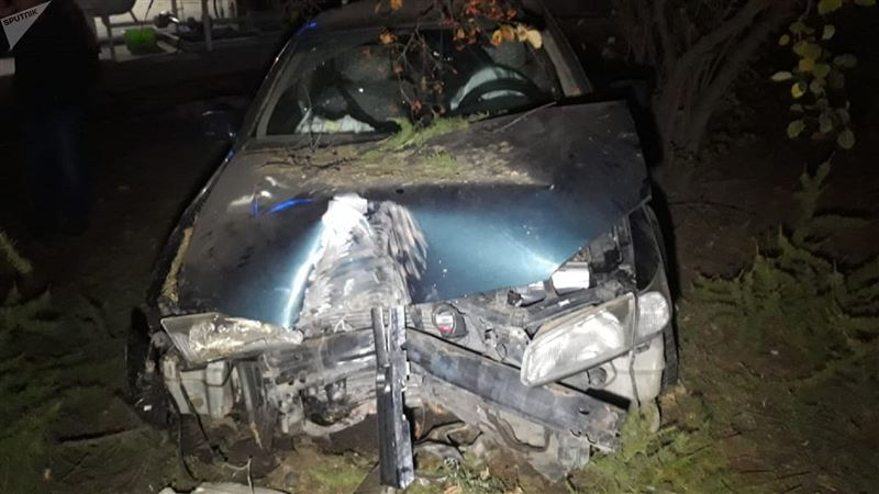Машина сбила дерево и едва не въехала в резервуар с газом