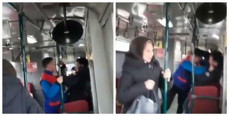 Оралда автобус ішінде кондуктор мен жолаушы төбелесті