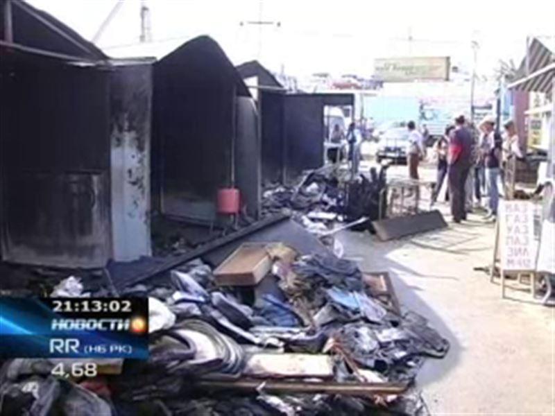 В Кокшетау горел крупнейший в городе оптовый рынок «Жеке Батыр»