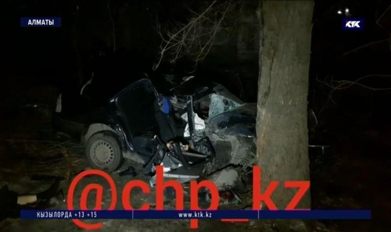 Снес одно дерево, врезался в другое – ДТП в Алматы