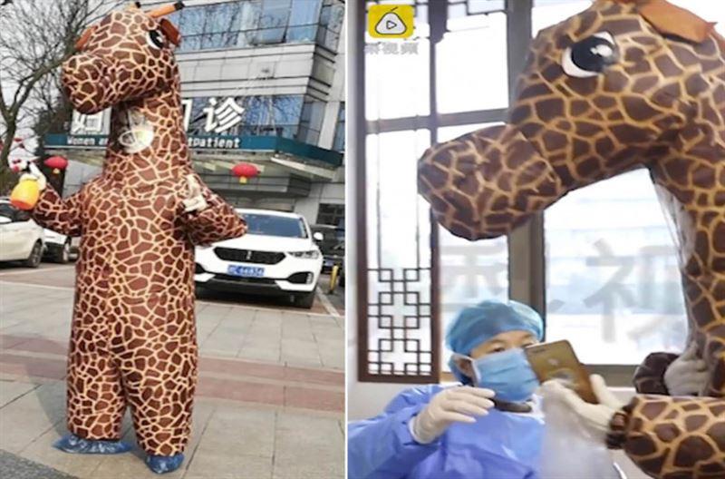 Женщина решила спасаться от коронавируса в костюме жирафа