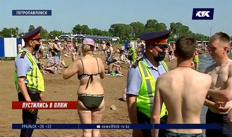 В СКО полиции и спасателям пришлось идти на пляж