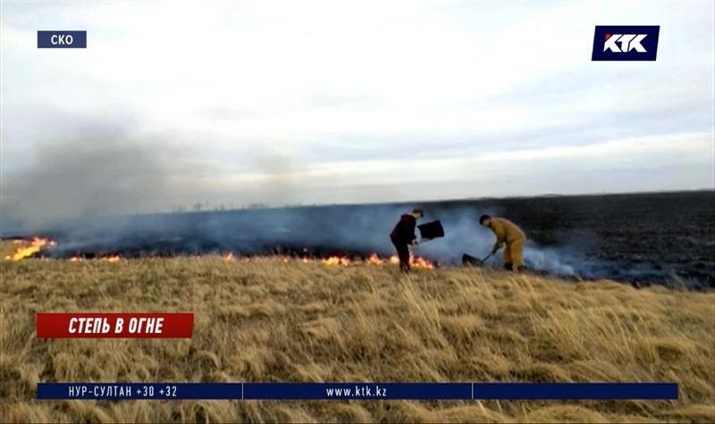 В СКО двое суток тушили пожар в степи