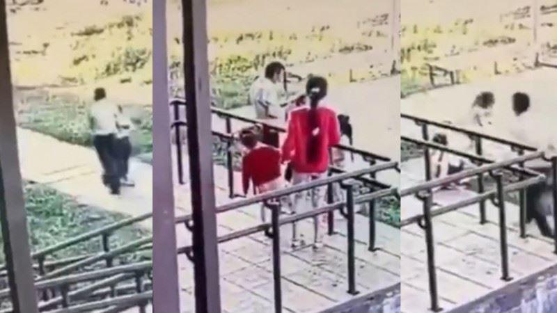 Оралда 6 жасар қызды ұрлап кетпекші болған ер адам видеоға түсіп қалған
