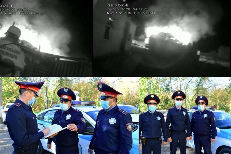 В Карагандинской области полицейские спасли сельчан от огня