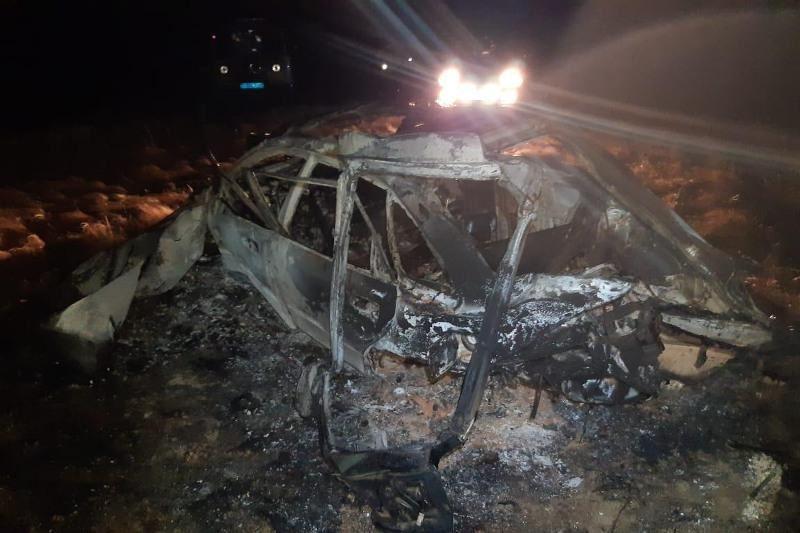Машина сгорела дотла, вылетев с трассы в Акмолинской области: двое погибли