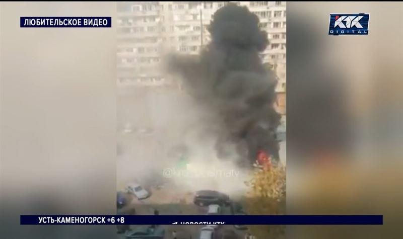 Большой пожар и взрыв на СТО в Алматы