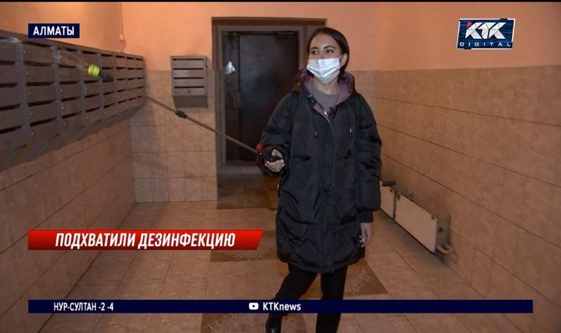 Ковид в подъездах: репортер КТК поучаствовала в дезинфекции