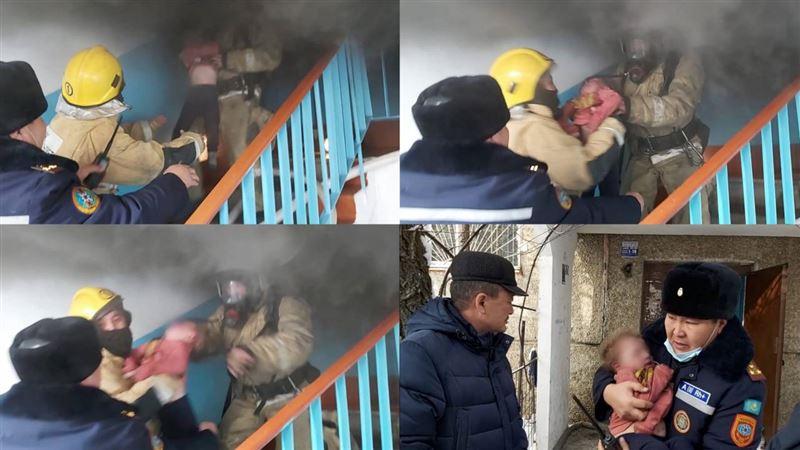 Пожарные вынесли ребенка из огня в Талдыкоргане