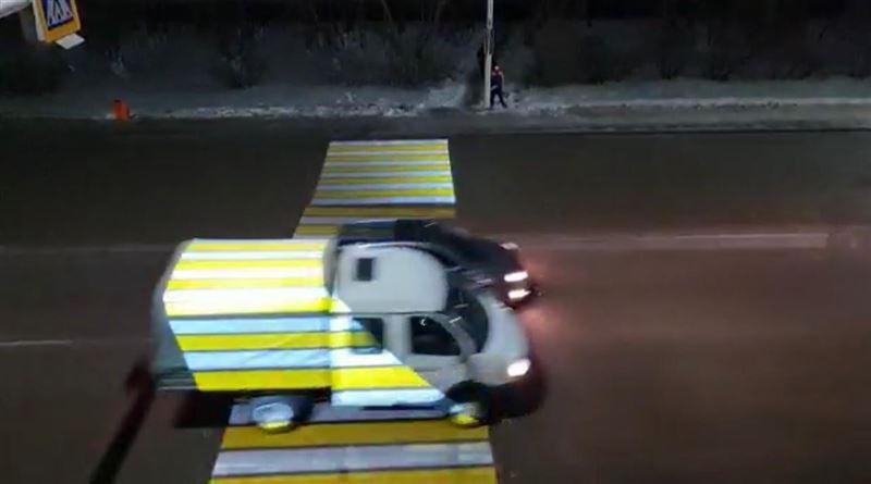 Проекционный пешеходный переход запустили в Нур-Султане