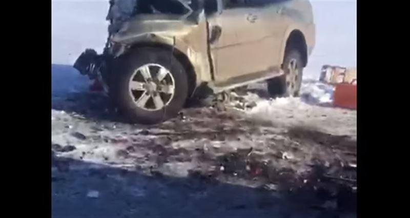 Опубликовано видео с места страшной аварии в Костанайской области