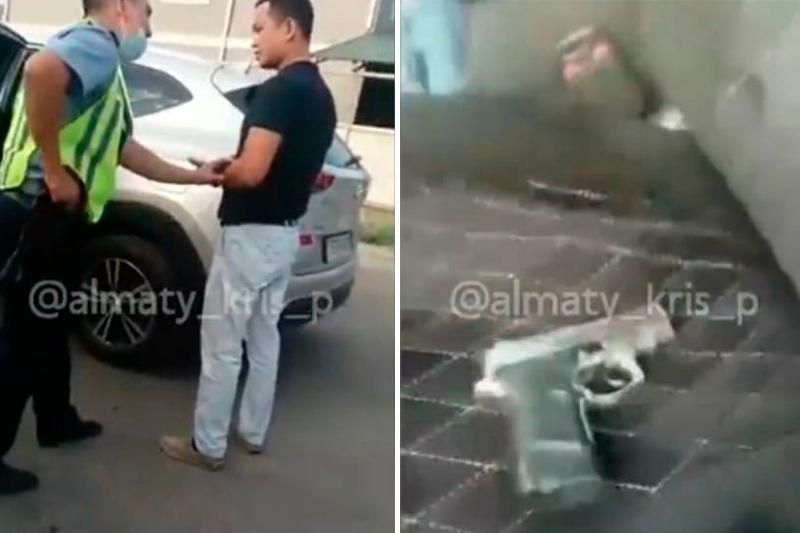В Алматы мужчина пытался проехать на территорию детского сада, угрожая пистолетом