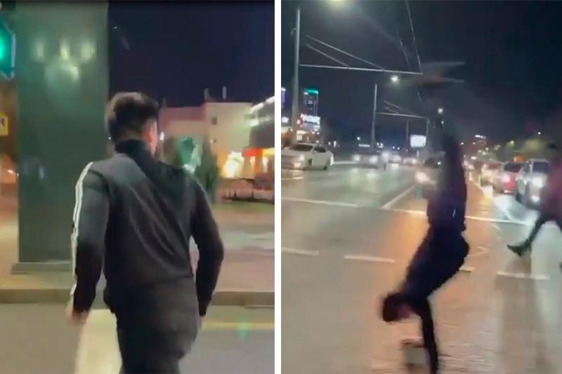 Мужчину, сделавшего сальто на пешеходном переходе, оштрафовали в Алматы
