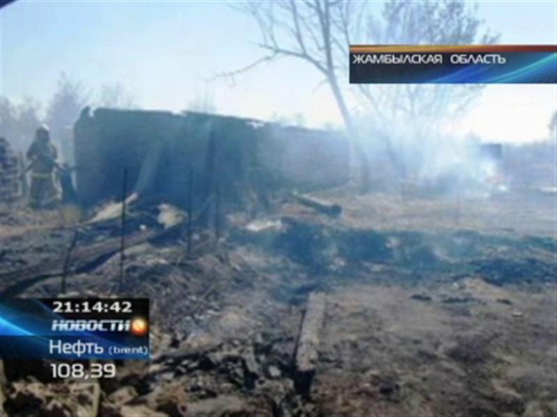 Степной пожар в Жамбылской области добрался до домов