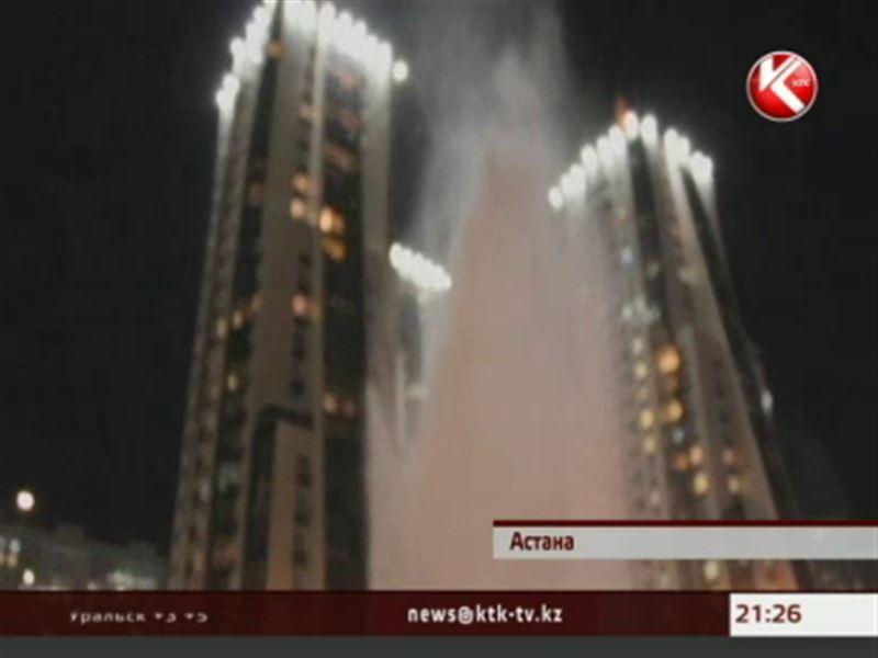 В центре Астаны из-под земли внезапно вырвался мощный горячий фонтан