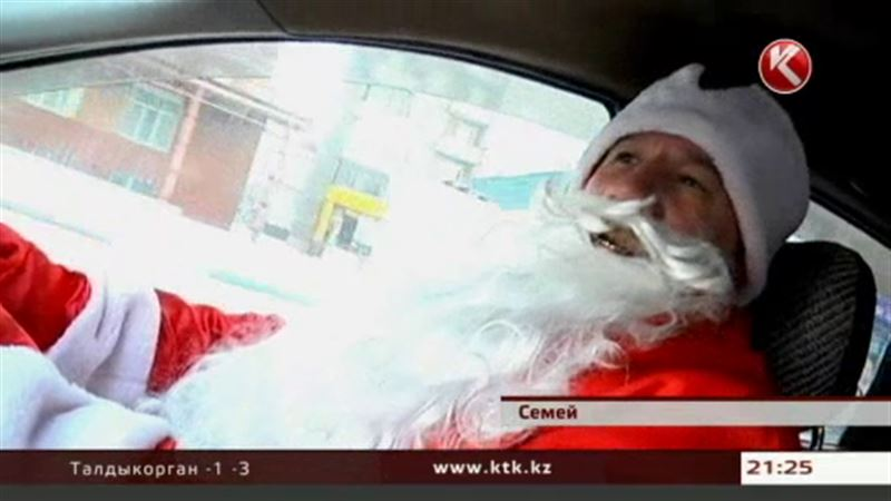 В Семее за руль такси сел Дед Мороз