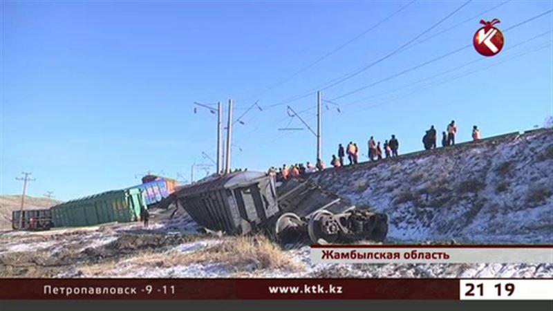 В Жамбылской области сошли с рельсов 12 вагонов