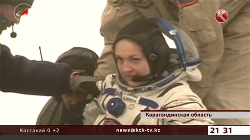 Под Карагандой встретили космонавтов, среди которых женщина