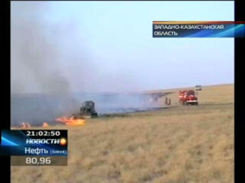 В Актюбинской и Западно-Казахстанской областях полыхают степные пожары