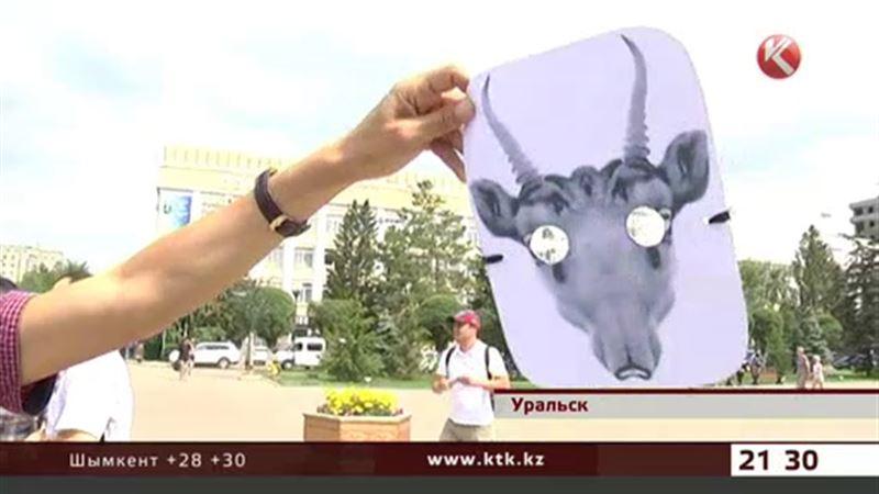 Уральские активисты вышли на площадь в масках сайгаков