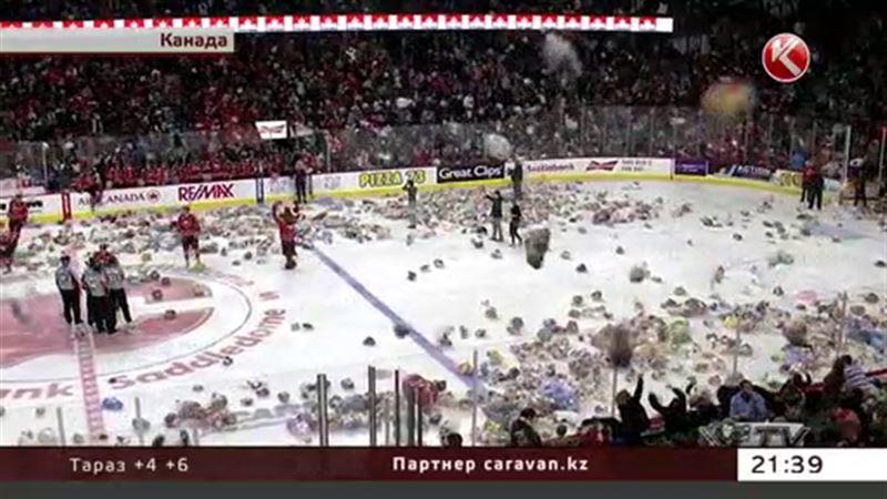 30 тысяч плюшевых мишек полетели на лед во время матча в Канаде