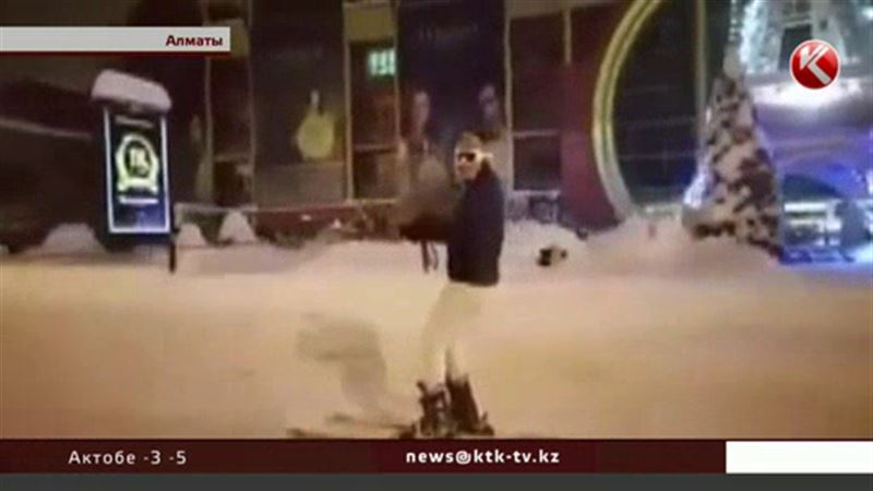 Водитель, прокативший лыжника по улицам Алматы, заплатил штраф