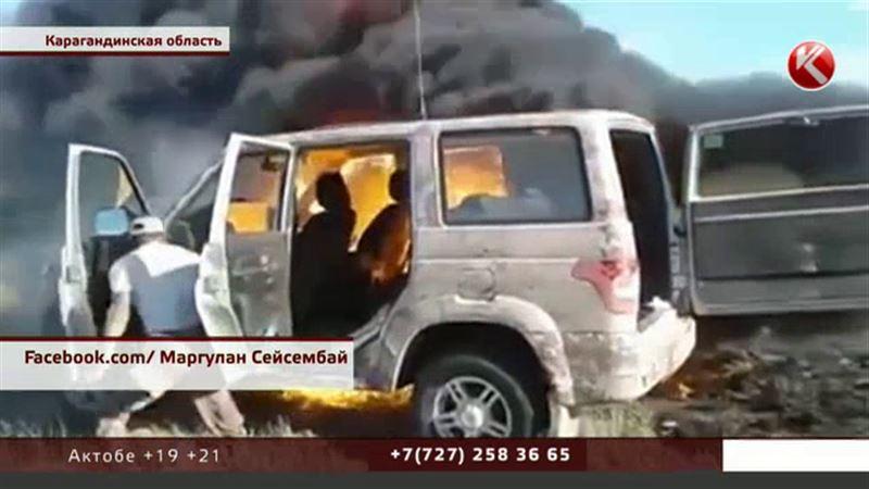 Егеря «Ак бокена» заявляют, что их машину расстреляли и подожгли браконьеры