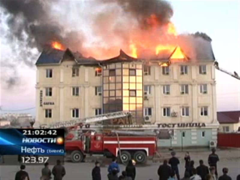 В Атырау произошёл крупный пожар