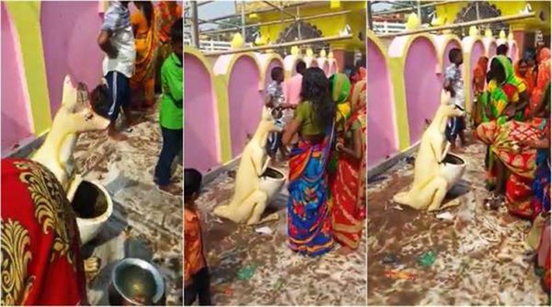 Жители Индии приняли мусорную урну за божество