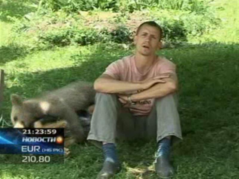 Во дворе жителя Словении поселился медвежонок