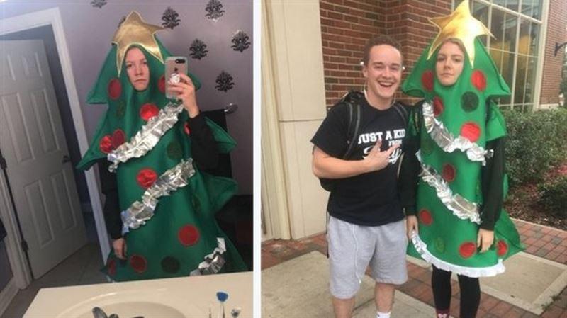 За 1 000 ретвитов студентка проходит в костюме елки до конца семестра