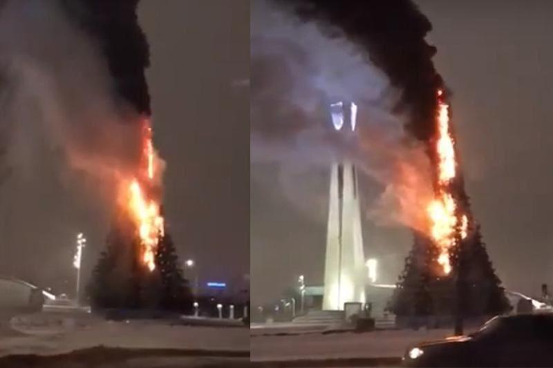 Астанада жаңажылдық шырша өртенді